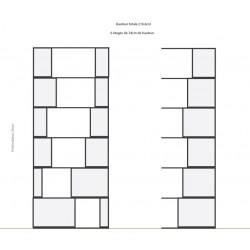Bibliothèque (L90+90cm, H212.2cm - Chêne et blanc)