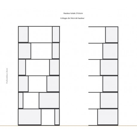 Bibliothèque (L105cm, H277.6cm - Chêne et blanc)