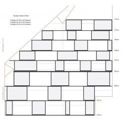 Bibliothèque (largeur : 264-113 cm, hauteur : 239cm, profondeur : 17 & 26 cm)