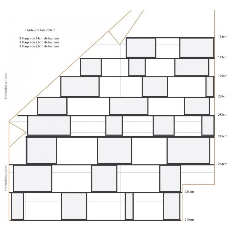 biblioth que largeur 264 113 cm hauteur 239cm profondeur 17 26 cm the perfect. Black Bedroom Furniture Sets. Home Design Ideas
